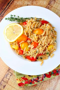 Lemon- Thyme Orzo Pilaf in 25 minutes! #recipe