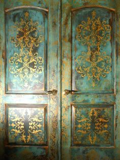 Faux Painted Walls in Turquoise, Teals, Blues, Greens - rustic - interior doors - portland - Johanna Annable, Old World Fine Artist