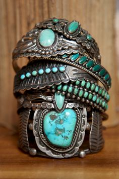 Turquoise on stamped silver bracelets