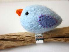 Blue Bird Felt Finger Pincushion