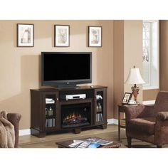 Hampton Bay Grand Haven 59 in. Media Console Electric Fireplace in Dark Cherry