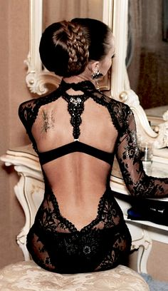black lace <3 fashion, black magic, backless dresses, the dress, gown, tattoo, luxury lingerie, lace dresses, new hairstyles