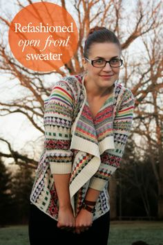refashioned open front sweater