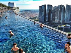 Rooftop infinity pool at a casino hotel in Singapore.