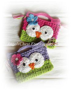 Cute Hand Crochet OWL Purse Handbag