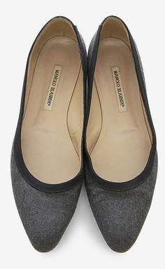 Manolo Blahnik grey wool flats