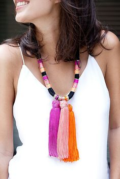Make a summer tassel necklace www.apairandasparediy.com by apairandaspare, via Flickr