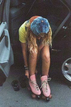 rollers, hats, hipsters, style, roller skating, vintage, denim, pink, derby