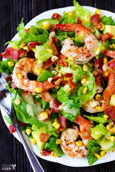 Shrimp, Roasted Corn & Avocado Salad -- and the dressing just gets even better | gimmesomeoven.com