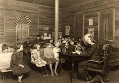 This picture was taken in West Virginia in 1921 and shows a one room school house.