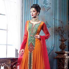 Orange Net Anarkali Churidar Kameez