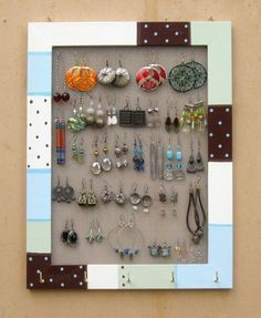 i'm looking for an easy to make jewelry hanger idea... this one is cute.