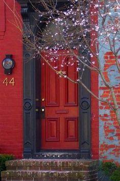 red doors, the doors, black doors, color, paris apartments, entrance house, front doors, bricks, red black