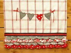 Shabby Hearts and Ruffles Dish Towel - Make one or two of these towels to decorate your kitchen with throughout February and add one to a gift basket for a sweet friend!