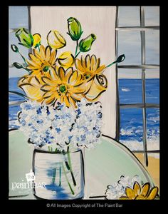 Seaside Bouqet Painting - Jackie Schon, The Paint Bar bouqet paint, paint parti, paint bar, paint inspir