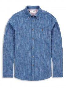Blue Long Sleeve Plectrum End On End Slub Button-Down Shirt