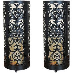Metal Candle Holders with LED Flameless Pillar Candles, Set of 2