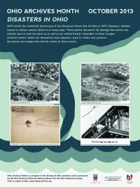 2013 Archives Month Poster- the lower right corner (dogs high and dry) is the 1937 flood photo we submitted. We actually won first place!