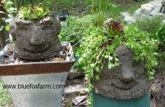 hypertufa head planters ~ instructions on how to make them.