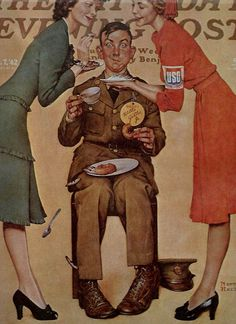 Vintage Norman Rockwell Art   Willie at the USO  - Saturday Evening Post Cover Illustration - World War 2 Era