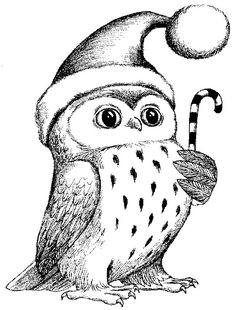 Christmas owl rubber stamp WM