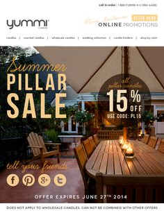 Summer Pillar Sale! Get 15% Off ALL Pillar Candles - Use Promo Code PL15 At Checkout