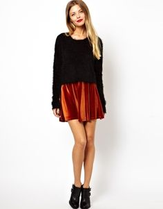 "ASOS velvet skater skirt, $44.50: ""I like soft things."" - Nora"
