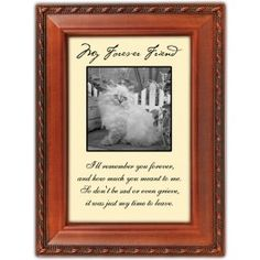 """Our pets are our forever friends, and this picture frame is a perfect way to remember your beloved cat.      A touching verse:     """"I'll remember you forever, and how much you meant to me.   So don't be sad or even grieve, it was just my time to leave.""""    $16.99 cats, memori, friends, belov cat, forev friend, picture frames, honoring pets, pictur frame, cat book"""