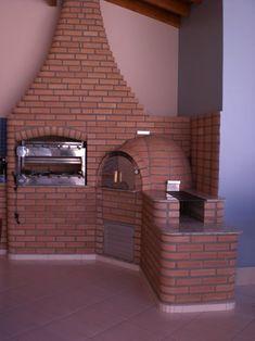 (3 em 1: churrasqueira, forno de pizza e fogão a lenha em tijolinho à vista)