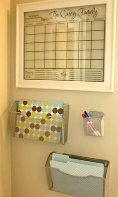 Operation organize family calendar etc: I like this window pane family calendar, along with the wall pockets. Great in a high traffic area.