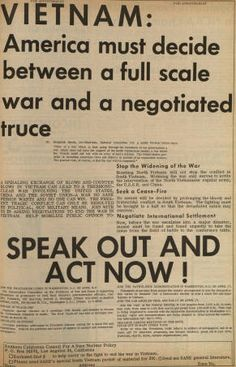 Anti-War newspaper advertisement, April 6, 1965. This was the first anti-war ad to appear in the Daily Sundial, the campus newspaper of San Fernando Valley State College (now CSUN). The ad was placed by the Committee for a SANE Nuclear Policy and encouraged all concerned citizens to participate -- through teach-ins, petitions, rallies, and any other legal means that provide voice for dissent. CSUN University Digital Archives.