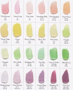 Color Chart #2 by Food Network Magazine via yeseniabakes: Beautiful pastel colors from a standard box of red (r), Yellow (y), blue (b), and green (g) food coloring. Add sparkle and shine with edible luster dust!  #Frosting_Color_Chart