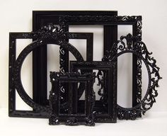 Picture Frames Black Shabby Chic Frames Set