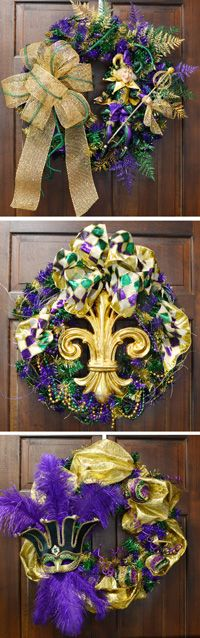 One wreath, 3 different ways: Mardi Gras wreath tutorial