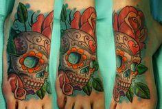Tim Senecal - sugar skull foot tattoo