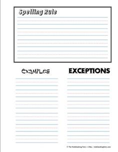spelling rules notebook page