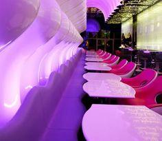Violet and magenta cafe design scheme.