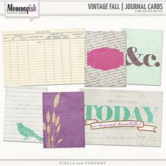 Quality DigiScrap Freebies: Vintage Fall journaling cards freebie from Mommyish