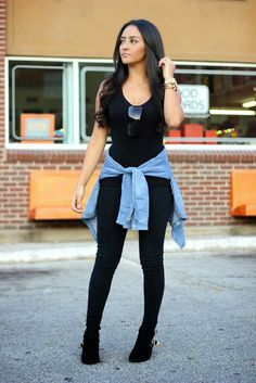 Maytedoll: Celebrity look for less: Kim Kardashian Cut out boots and denim shirt