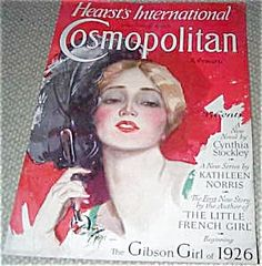$68 1926 vintage art deco flapper -Cosmopolitan Magazine Deco Lady Feather Fan Harrison Fisher cover