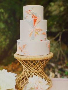 Boho cake with geometric details