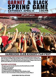Garnet & Black Spring Game & Kick-Off Fan Fest on April 13! Lots of great activities- Patrick Davis pre-game concert, tailgating competition, cornhole tournament, great prizes/enter to wins, and more!