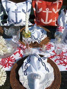 nautical style, anchors, nautical table settings, beachi tablescap, backyard