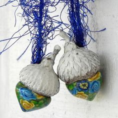 Yellow Blue Green Floral Acorn Ornaments Enchanted by LavaGifts, $8.00