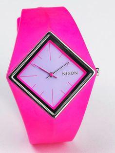 Hot pink watch.