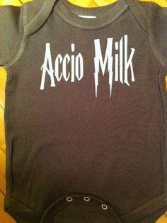 Harry Potter Accio Milk Baby Onesie Bodysuit- Choose Your Color. Choose Your Size. on Etsy, $13.00
