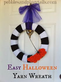 Pebbles and Piggytails: Simple Yarn Wreath for Halloween