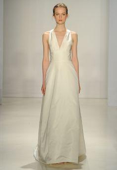 V-neck A-line Wedding Dress   Amsale Fall 2015 Wedding Dresses   Maria Valentino/MCV Photo   Blog.theknot.com