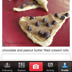 chocol peanut, chocolate chips, butter croissantspread, cresant roll, chocolates, chocol chip, crescent rolls, butter fill, chocolate peanut butter