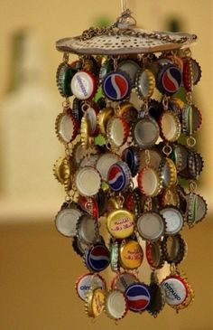 Bottle cap windchimes - for all those beer caps?
